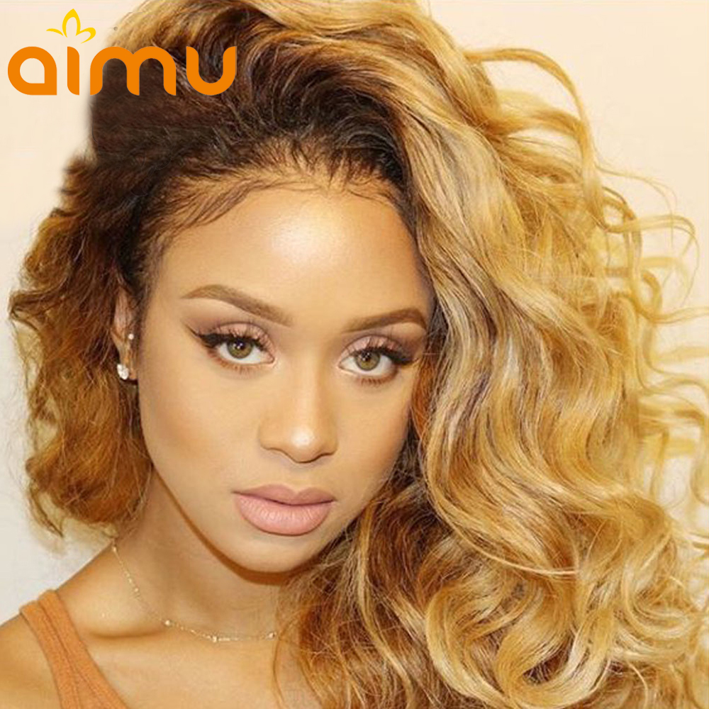 150 Density Ombre Human Hair Wig with Baby Hair Colored 1b ...
