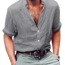 643682fb01 Laamei degli uomini Camicia A Maniche Lunghe Camicia di Lino di Lino Fresco  E Traspirante Uomini delle Camicette Camisa Masculin.