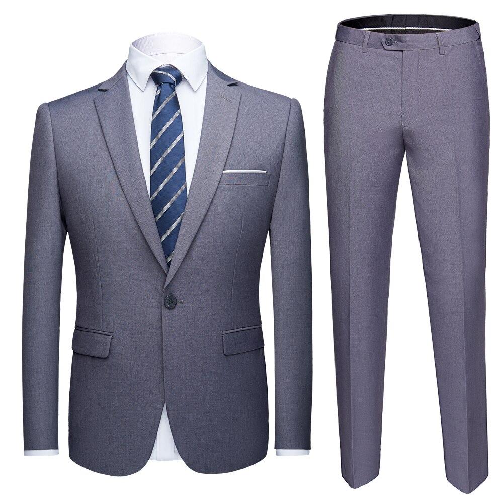 Высокое качество 2019 мужской модный тонкий костюм 6XL мужской деловой повседневный комплект из 2 предметов, свадебный костюм, костюм со штанам