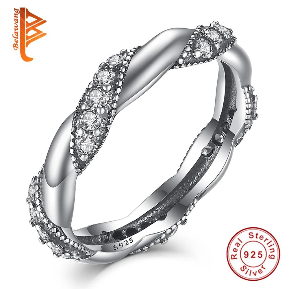 BELAWANG Original Real 925 Sterling Silver Ring Pave AAA + křišťálová stuha prstenů lásky prstů pro ženy / dívky módní šperky