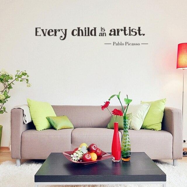 eenvoudige elk kind is een kunstenaar muurstickers vinyl verwijderbare kids slaapkamer muurstickers
