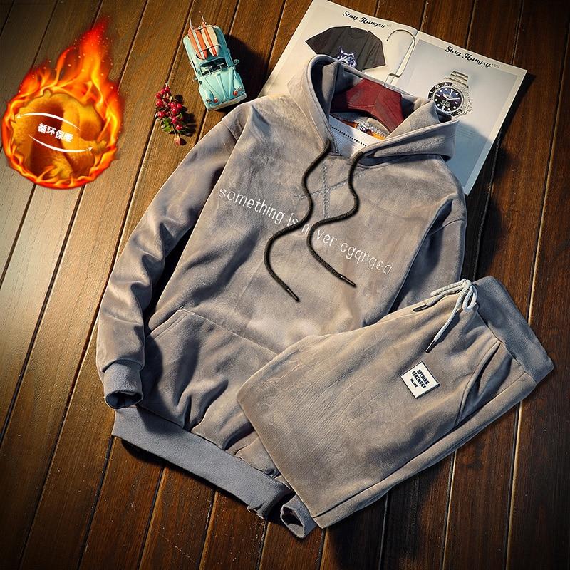 Men Set Winter Gold Velvet Tracksuit Men's Sportswear Sets Thick Fleece Warm Hooded Hoodies+pant Men Sweat Suit Set