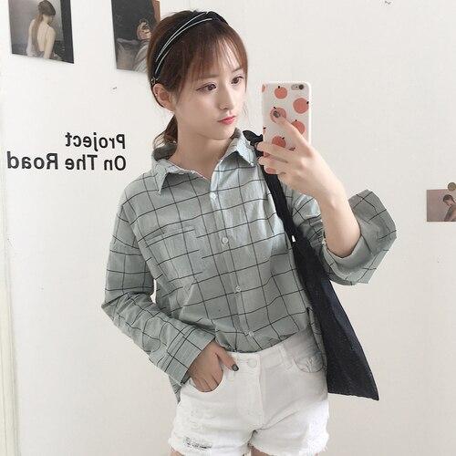 Для женщин Блузка Лето 2018 Корея рубашка в клетку Kawaii Свободные Длинные рукава Повседневный Топ Вадим Harajuku хлопок дамы Костюмы рубашка