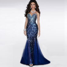 Free shipping Dark Navy Blue Sequins Mermaid Evening Dresse 2016 Long Sexy Prom font b Dress