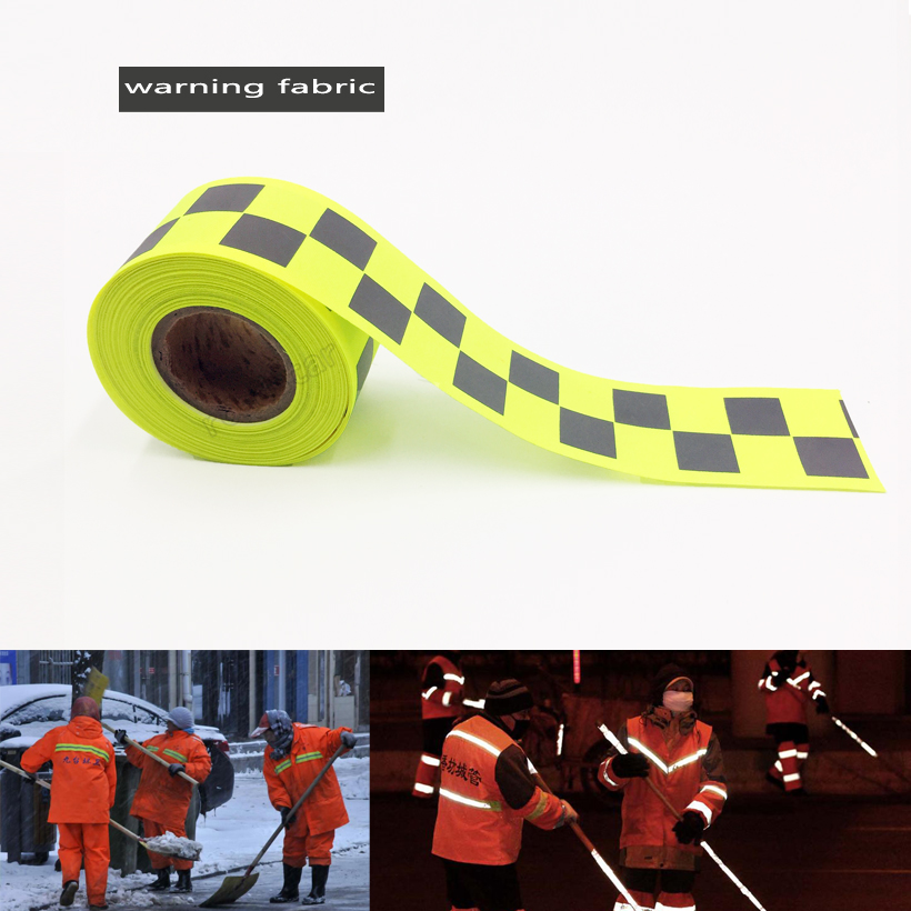 Fluorescent yellow Reflective Oxford Warning Tape with 2 Small Square for safety Clothing  sew on