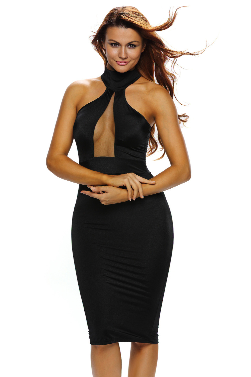 slim new prom cocktail graduation Sexy Women dinner party Bodycon Bandage black wine Taupe Mock Neck Sheer Peep Hole Dress 60880