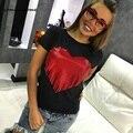 2016 Marca Das Mulheres Novas do Verão T-shirts de Manga Curta Tops Tees Camiseta de Moda Para Mulheres Plus Size Borla Coração t-shirt
