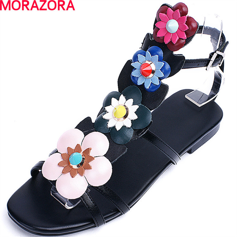 6a708cf6b59962 genuine comfortable buckle top summer 43 fashion sandals hot sweet flower  34 flat quality women size ...