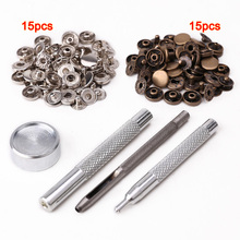 Hot sale  30pcs 10mm metal push button + tool set for leather goods