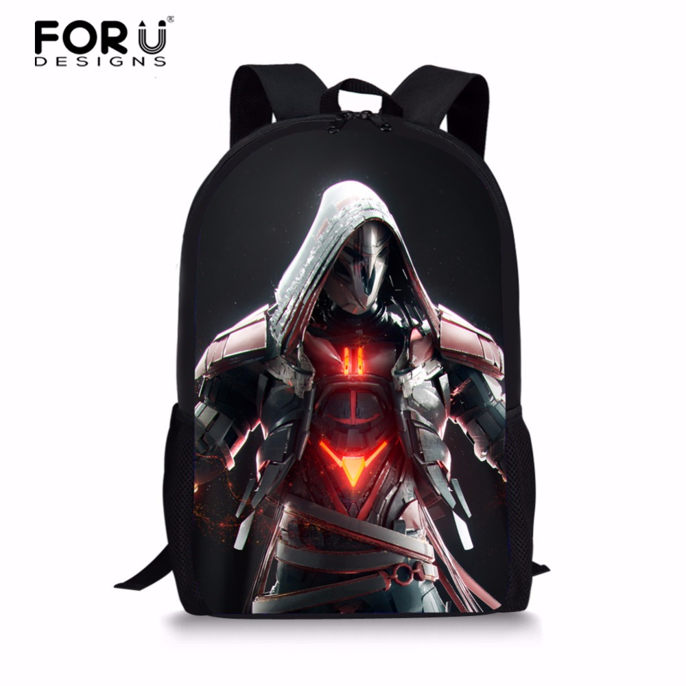 6199c9626e5 все цены на FORUDESIGNS Cartoon OVERWATCH School Backpack For Boys Kid  Backpack Shoulder Bag Children School