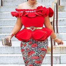 Summer Elegant Sexy Club Plus Size Sweet Blouse Women Slim Off Shoulder Plain Falbala Chic Vintage African Fashion Tops Shirts plain falbala patchwork blouse