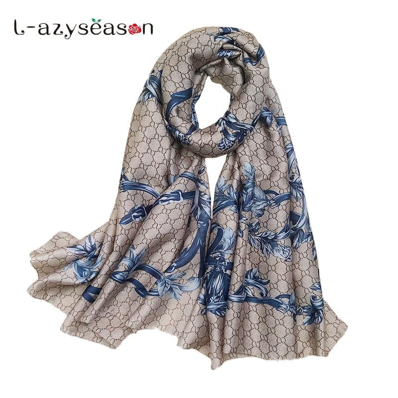 2018 Newest Women scarf Fashion Euro Design Classical Brand Luxury Printed Long Silk Scarves Big Shawl Soft Foulard 180X90 CM