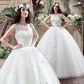 Весна 2017 Новые Дешевые Свадебные Платья Бальное платье Свадебное платье Scoop Кристалл Аппликации Из Органзы Свадебное Платье Свадебное Платье