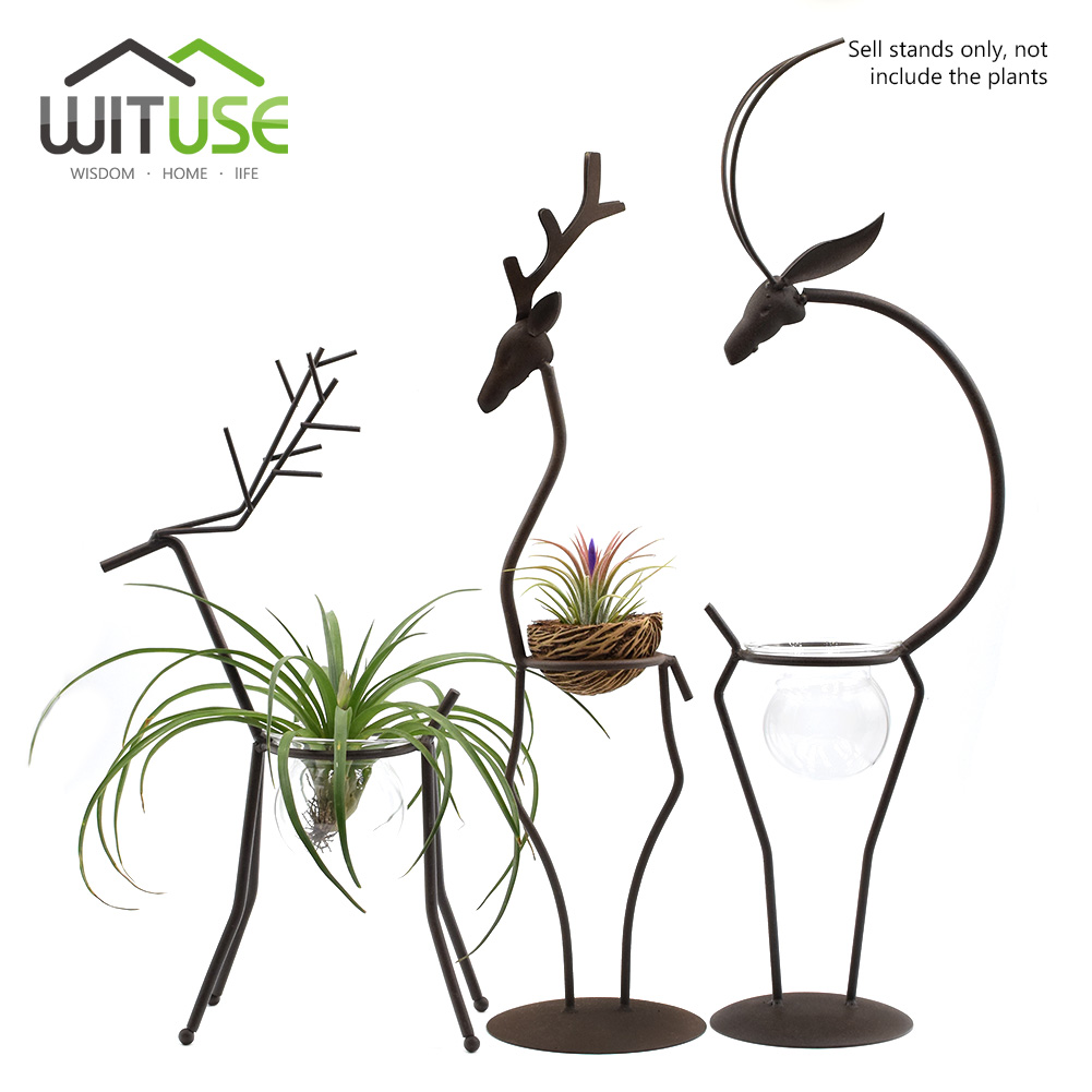 цена на Funny Ornaments Deer-Shaped Iron Display Stand For Hanging Glass Terrarium Flower Pot Air Plants Holder For Office Shop