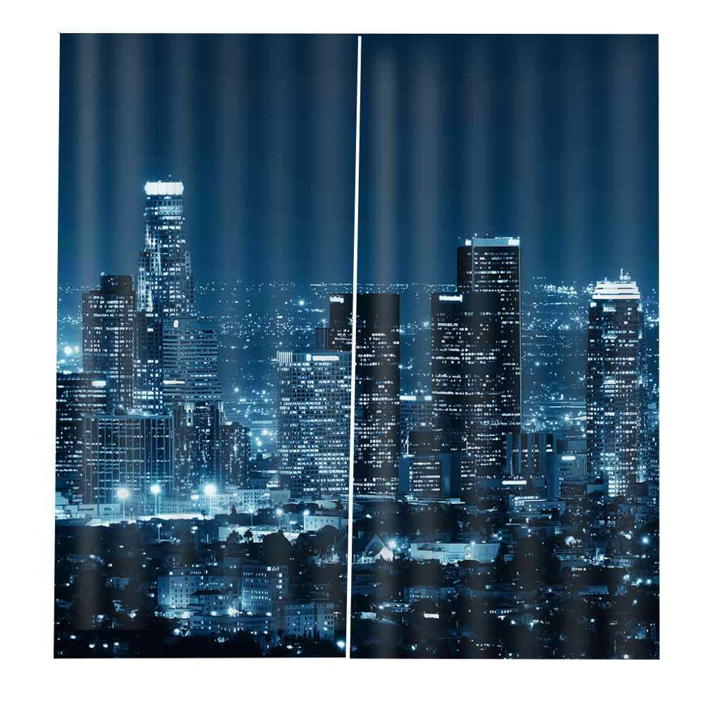 Customize 3D curtains Photo Window Curtains For Living room Bedroom City night view architecture blackout curtains