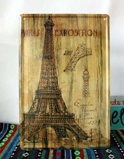 50pcs/lot Metal Sign shabby chic The Pair Eiffel tower Vintage Medal ...