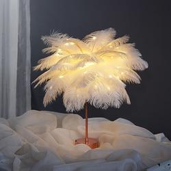 Novelty Natural ostrich feather Night Light Children Bedroom Animal feather Night Lamp Cloud Light Emitting Children Room Decor