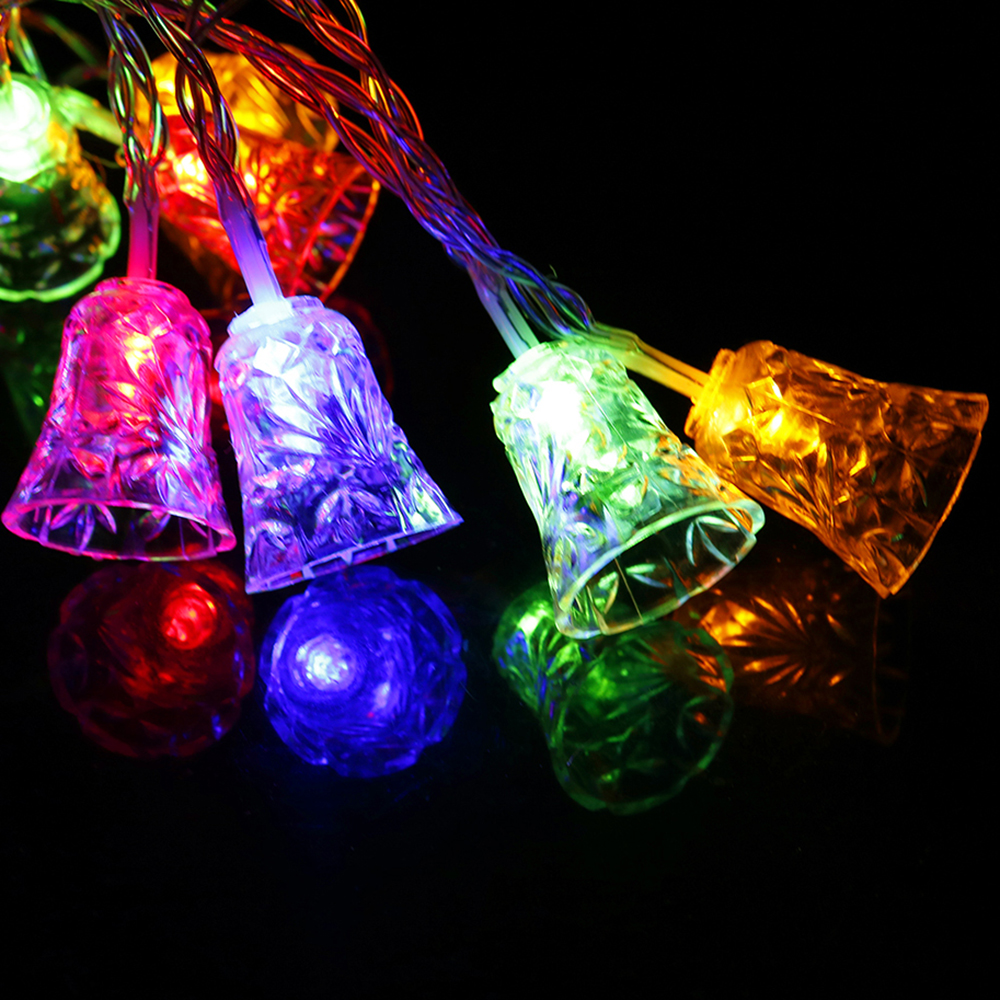 10 Bells Led String 120CM 9 Colors Night Light With Battery Box Festival Lantern Party Family Birthday Christmas Decor L