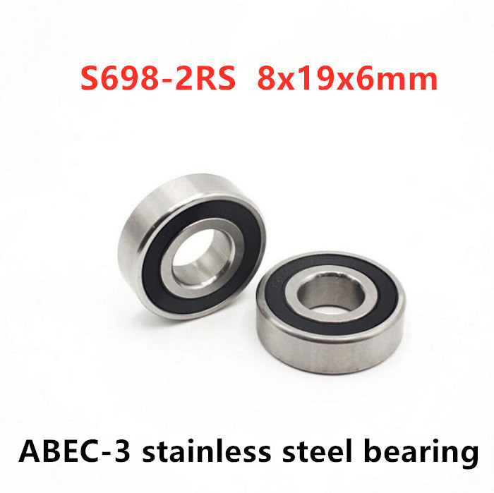 50pcs/lot ABEC-3 S698-2RS 8x19x6mm S698RS Miniature Stainless Steel Deep Groove Ball Bearings 8*19*6 Mm