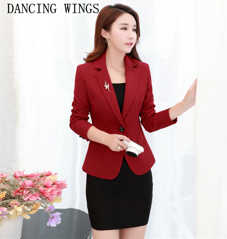 Spring Fashion Ladies Blazers and Coats Plus Size 3XL Black Red Slim Small Suit Work Wear Long Sleeve One Button Casual Jacket