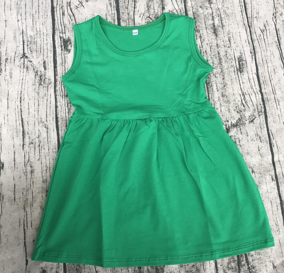 Casual Solid color children toddler sleeveless dresses knit cotton ...