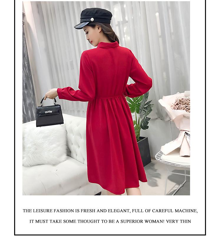 fashion bow collar women dresses party night club dress 2019 new spring long sleeve solid chiffon dress women clothing B101 10