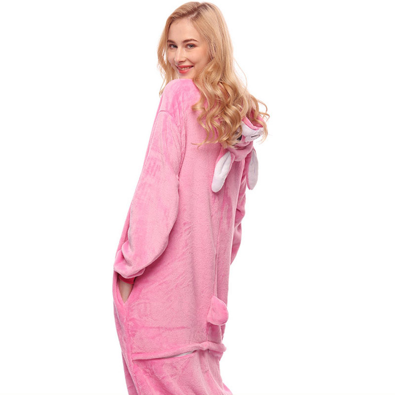 Adult Anime Kigurumi Onesies Rose Rabbit Costume Women Cute Cartoon Animal Bunny Pajamas Onepieces Sleepwear Home Cloths Girl