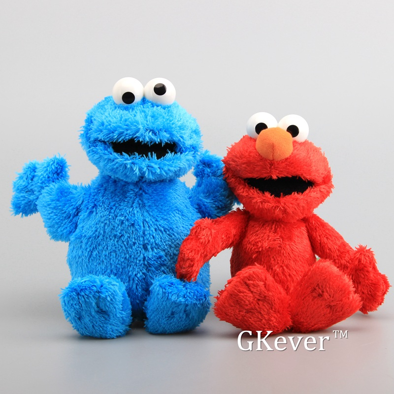 High Quality Sesame Street Elmo Cookie Monster With Plastic Eyes Soft Plush Toy Cartoon Fluffy Stuffed Dolls 9
