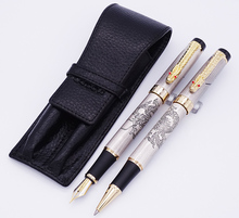 Jinhao Gray Descendants of The Dragon Fountain Pen & Roller Pen with Real Leather Pencil Case / Bag Washed Cowhide Pen Case Set цена 2017