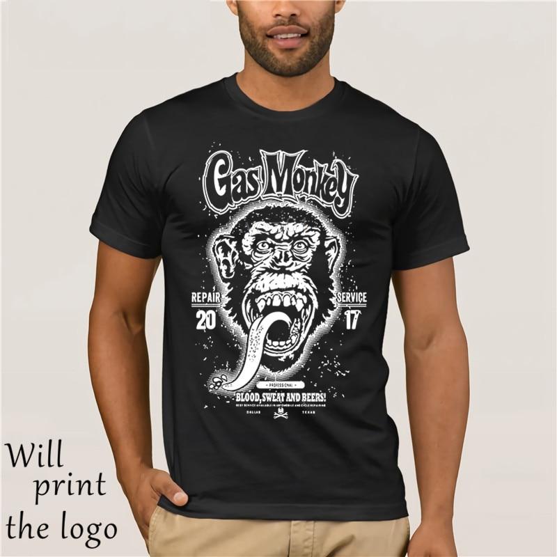 Gas Monkey Garage Large Monkey Tshirt Mens American Hot Rod Custom Car Men's Clothing