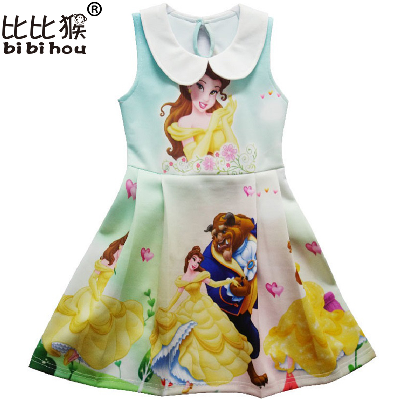 bibihou Kids costume Girl dress Beauty and beast cosplay fancy belle princess dress for Christmas Halloween dress child clothes christmas cosplay costume lace up velvet cami dress