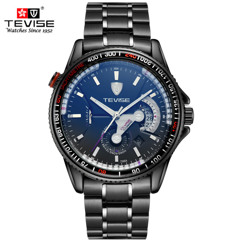 2016 TEVISE Luxury black Brand  Men Skeleton Mechanical Watches Male Clock Stainless Steel Strap Fashion Sport Automatic Watch tevise men black stainless steel automatic mechanical watch luminous analog mens skeleton watches top brand luxury 9008g