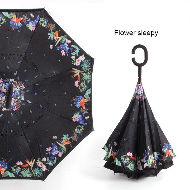 C ручкой ветрозащитный обратный складной зонтик для мужчин и женщин Защита от солнца дождь автомобиль перевернутый Зонты Двойной слой анти УФ Самостоятельная стойка Parapluie - Цвет: flower sleepy