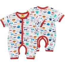 Купить с кэшбэком 100% Cotton Baby Bodysuit 1pieces/lot Summer Newborn Cotton Body Baby Short Sleeve Underwear Infant Boy Girl Pajamas Clothes