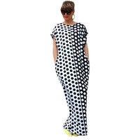 fashion Boho Summer Dress 2018 Short Sleeve O-Neck Long Maxi Dresses Black White Dot Printed Sexy Beach Dress Pockets dresses