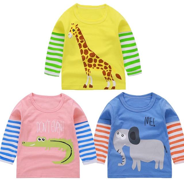 2018 Autumn Giraffe Tee Shirt Baby Boy Clothes Birthday Tiny Cottons Tops Girls Top