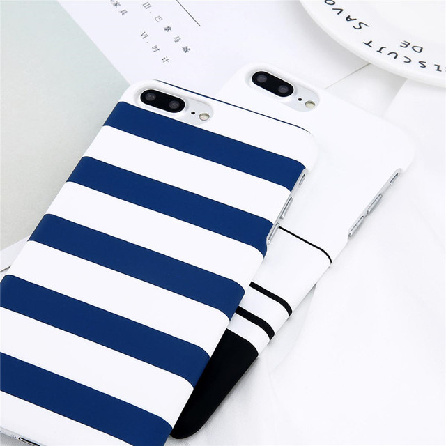 Lovebay Phone Case For iPhone 8 7 6 6s Plus 5 5s Fashion Black and White Stripes Hard Plastic Protect Cover Cases For iPhone 8  5