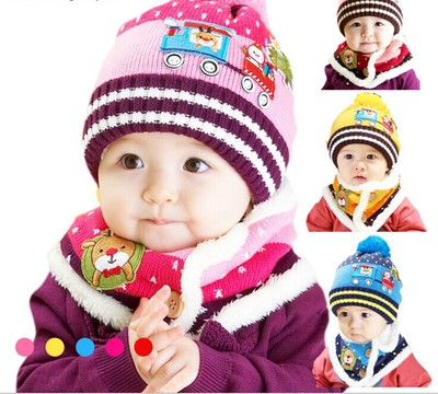 2016 Top Fashion Direct Selling Girls Children Knit Cap Autumn And Winter Models Baby Christmas Hat Shape Child Warm Scarf Suit