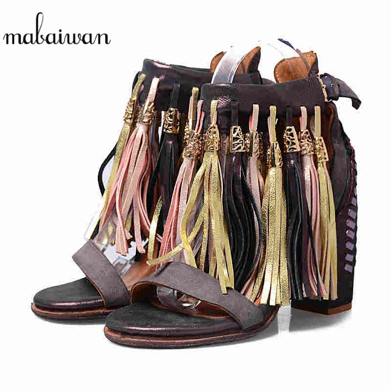 Mabaiwan Fashion Women Shoes Buckle Summer Sandals Thick High Heel Fringe Genuine Leather Sexy Party Wedding Ladies Female Pumps round neck cotton linen splash ink print short sleeve men s t shirt