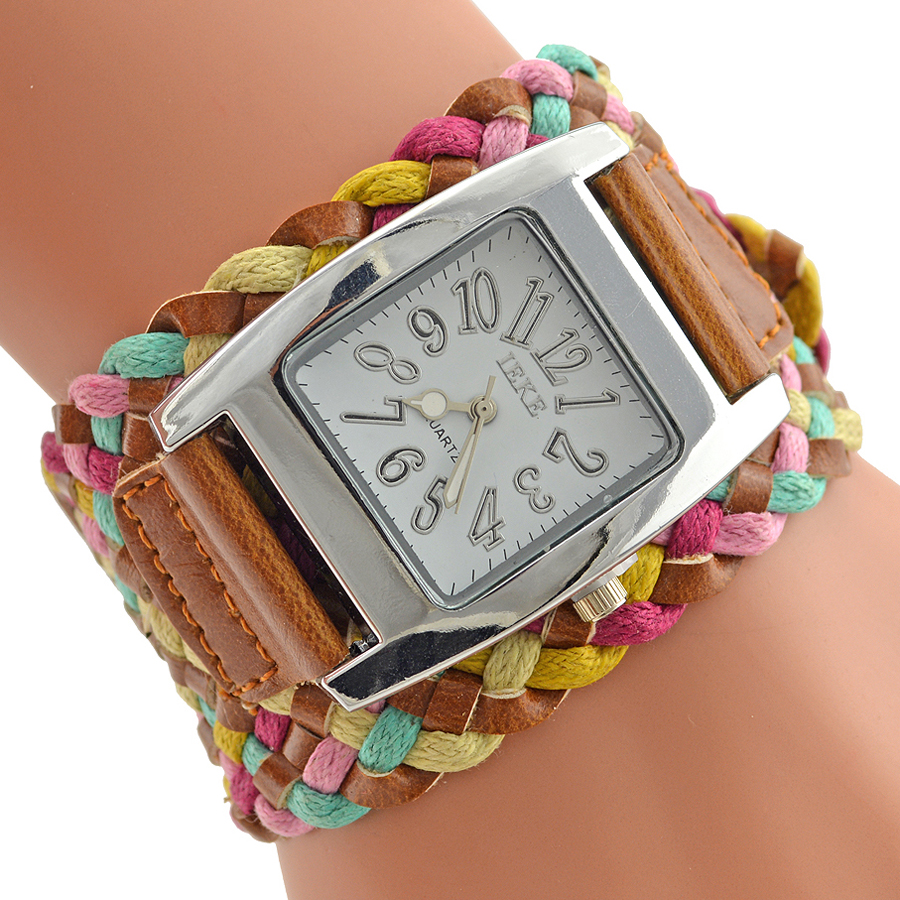 Fashion New Brand PU Leather Watch Women Dress Watches Knit Wide Belt Rope Woven 7 Colors Ladies Rainbow Bracelet Wrist Watches