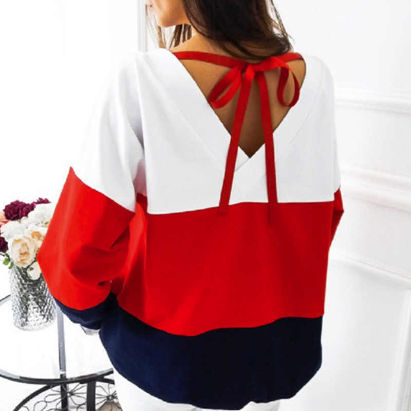 Bella Philosophy Spring O-Neck Long Sleeve loose Pullovers  back V collar Warm Blouse Women Knitted Sweatshirts femme tops