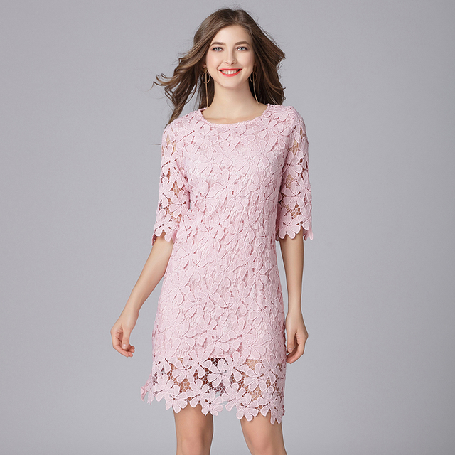 2019 elegant women floral lace dresses plus size half sleeves women spring summer OL lace dress pink color