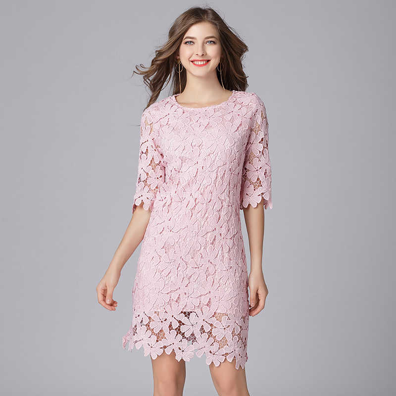 2019 elegant women floral lace dresses plus size half sleeves women spring  summer OL lace dress