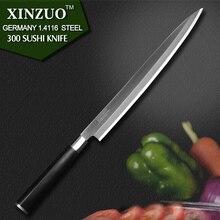 """Xinzuo 10,5 """"zoll sashimi messer mit scheide deutschland stahl küchenmesser einseitig sushimesser ebenholz griff kostenloser versand"""