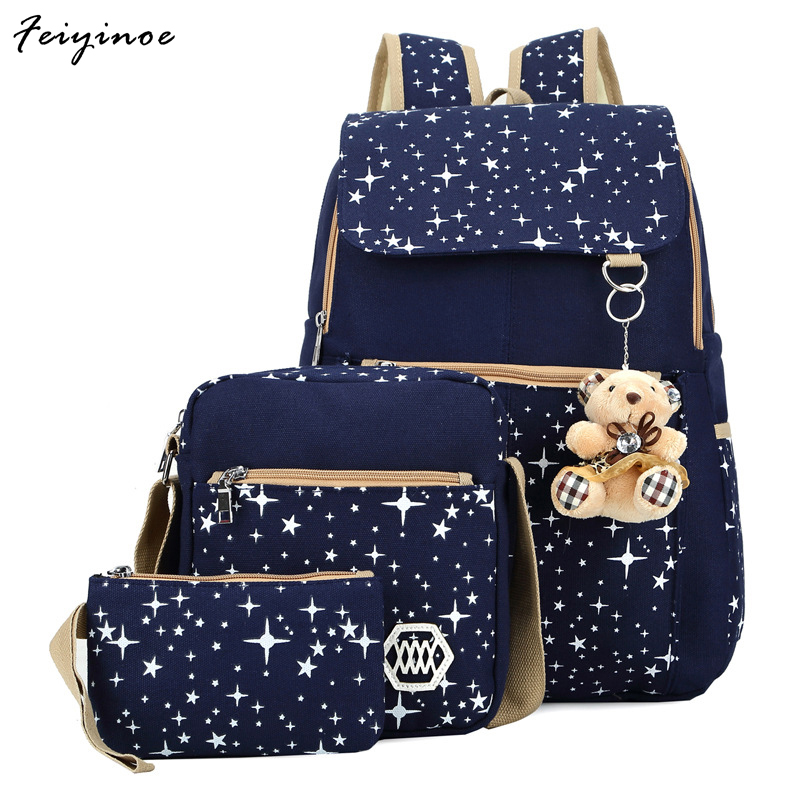 Students backpack women bag backpack printing Canvas Backpack tide cute casual Street School wind bag combination