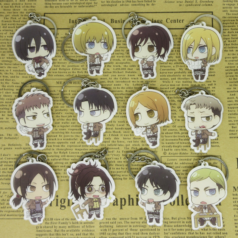 (12 pieces/lot) Attack on Titan Chibi Characters Key Ring Pendants Eren Mikasa Armin Levi Collectible Toy Figure Cmoic con Gifts