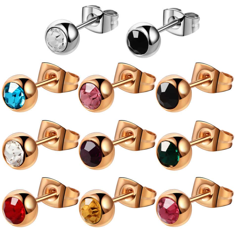 Para stal chirurgiczna 316l kryształowy kamień w różnych kolorach kolczyk w uchu prosty styl wkręcane kolczyki zapinane z tyłu seksowna biżuteria dziewczęca 20g