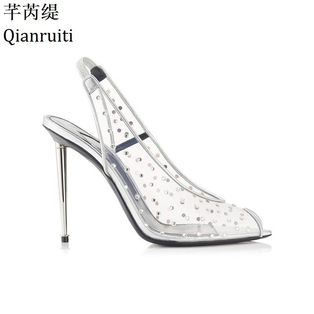 Qianruiti Clear Transparent PVC Stiletto Heels Women Sandals Peep Toe High  Heels Women Shoes Elastic Band Slingback Women Pumps 9dbc4d501a21