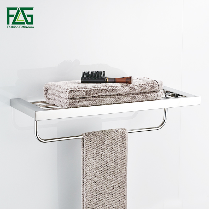 FLG Mirror Polished Stainless Steel Bath Towel Rack Square Single Layer Towel Holder With Bar Wall Mounted Bathroom Accessories подвесная люстра arte lamp cartwheel a4550lm 6ck