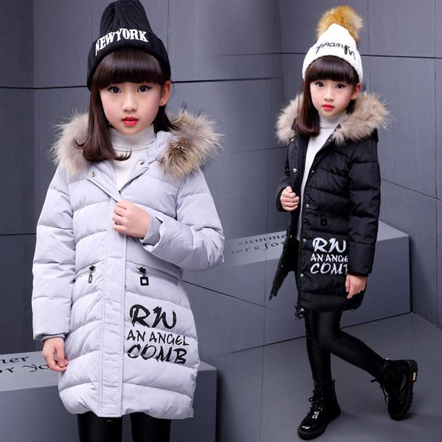 Inverno de alta Qualidade Longo Imitado Parka Down Jacket Para Meninas Crianças 2016 Adolescente Casacos Com Capuz Jaqueta Grossa Quente Outerwears